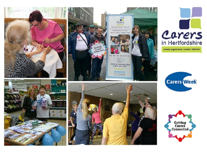 Carers in Hertfordshire Carers Week 2019 Events collage