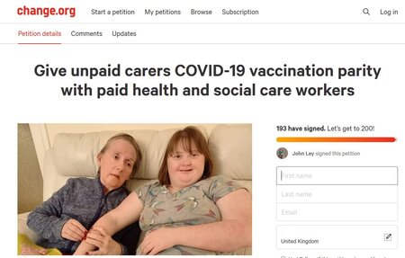 Covid-19 vaccine for unpaid carers petition web