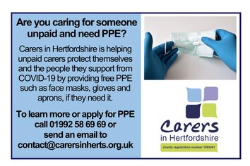 PPE available for unpaid carers message