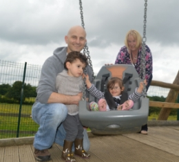 Parent Carer Worker Maria Kiely with a family at the picnic